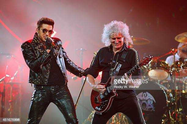 Adam Lambert and Brian May of Queen perform in concert at the SAP Center on July 1 2014 in San Jose California