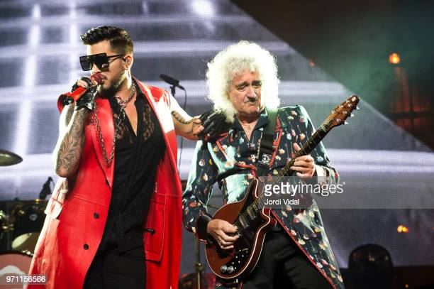 Adam Lambert and Brian May of Queen perform on stage at Palau Sant Jordi on June 10 2018 in Barcelona Spain