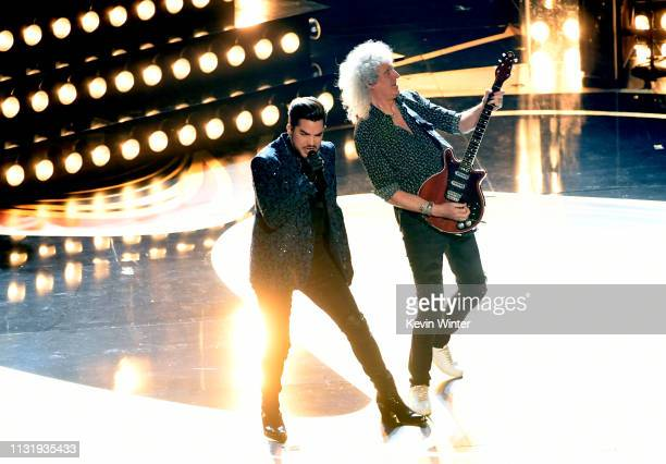 Adam Lambert and Brian May of Queen perform onstage during onstage during the 91st Annual Academy Awards at Dolby Theatre on February 24 2019 in...