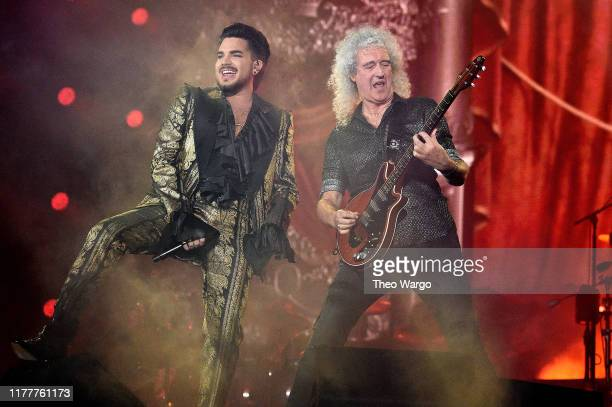 Adam Lambert and Brian May of Queen perform onstage during the 2019 Global Citizen Festival: Power The Movement in Central Park on September 28, 2019...