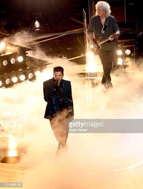 Adam Lambert and Brian May of Queen perform onstage during the 91st Annual Academy Awards at Dolby Theatre on February 24 2019 in Hollywood California