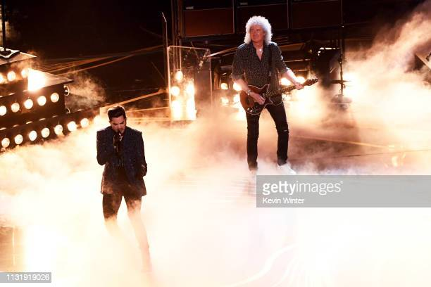 Adam Lambert and Brian May of Queen perform onstage during the 91st Annual Academy Awards at Dolby Theatre on February 24, 2019 in Hollywood,...