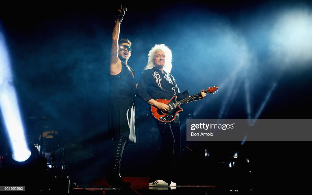 Adam Lambert and Brian May perform with Queen at Qudos Bank Arena on February 21, 2018 in Sydney, Australia.
