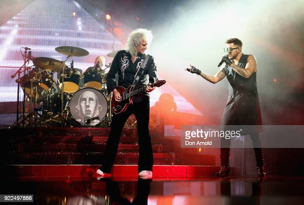 Adam Lambert and Brian May perform with Queen at Qudos Bank Arena on February 21 2018 in Sydney Australia