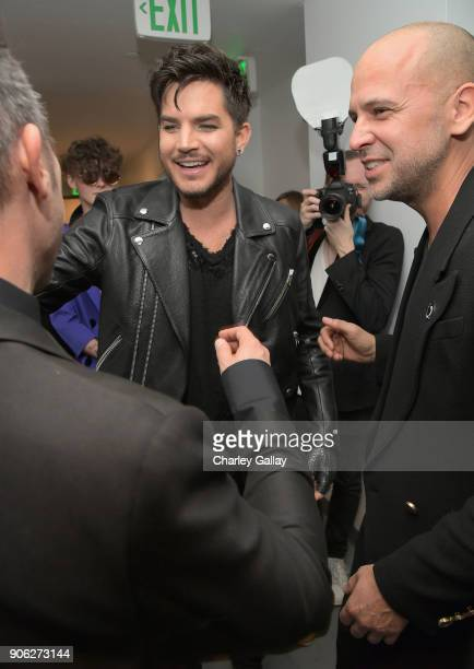 Adam Lambert and designer Claude Morais attend the Wolk Morais Collection 6 Fashion Show at The Hollywood Roosevelt Hotel on January 17 2018 in Los...