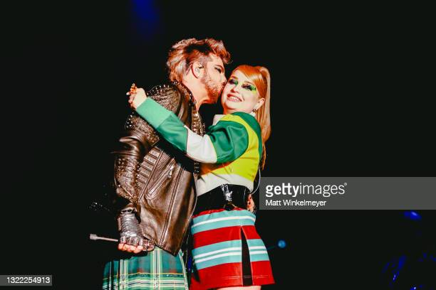 Adam Lambert and Kim Petras perform during the OUTLOUD: Raising Voices concert series at Los Angeles Memorial Coliseum on June 06, 2021 in Los...
