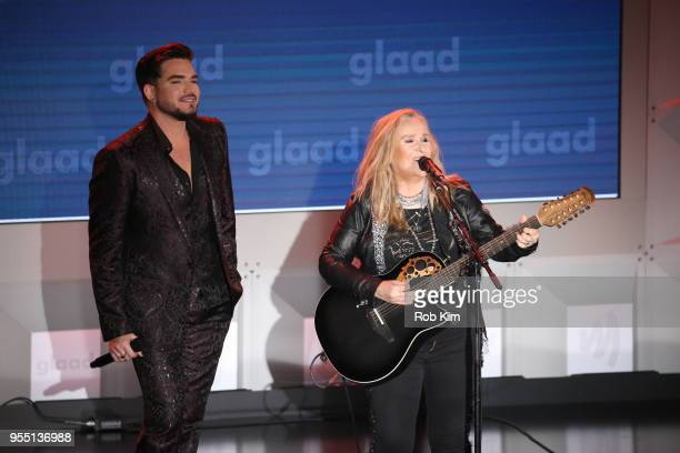 Adam Lambert and Melissa Etheridge perform music at the 29th Annual GLAAD Media Awards at Mercury Ballroom at the New York Hilton on May 5 2018 in...