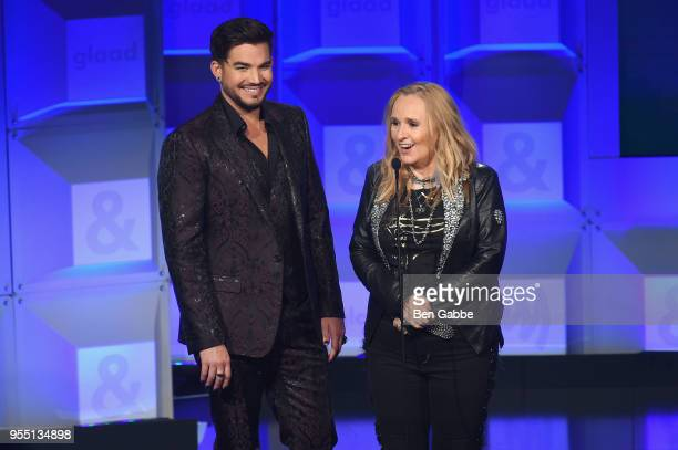 Adam Lambert and Melissa Etheridge speak on stage at the 29th Annual GLAAD Media Awards in partnership with longstanding LGBTQ ally KetelOne...