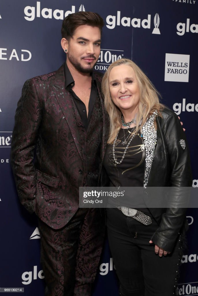Adam Lambert and Melissa Ethridge attend the 29th Annual GLAAD Media Awards at The Hilton Midtown on May 5, 2018 in New York City.