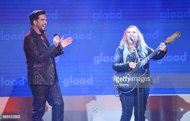 Adam Lambert and Melissa Ethridge perform onstage at the 29th Annual GLAAD Media Awards at The Hilton Midtown on May 5 2018 in New York City