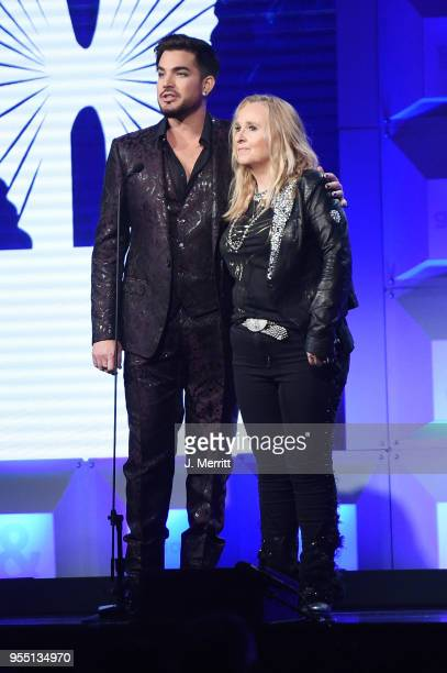 Adam Lambert and Melissa Ethridge speak onstage at the 29th Annual GLAAD Media Awards at The Hilton Midtown on May 5 2018 in New York City