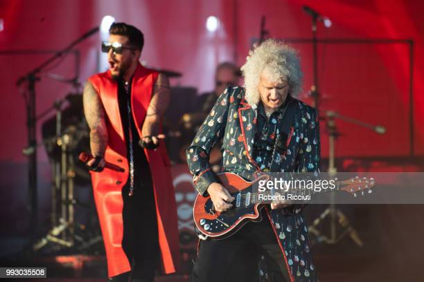 Adam Lambert and musician Brian May of Queen perform on stage during TRNSMT Festival Day 4 at Glasgow Green on July 6 2018 in Glasgow Scotland