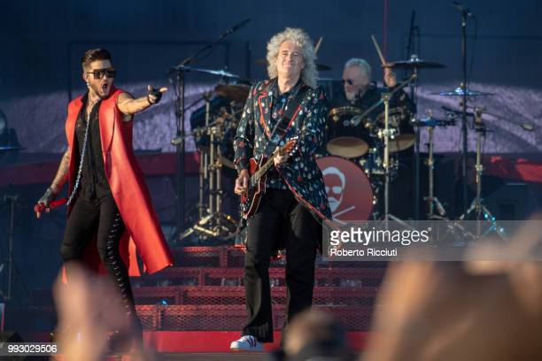 Adam Lambert and musicians Brian May and Roger Taylor of Queen perform on stage during TRNSMT Festival Day 4 at Glasgow Green on July 6 2018 in...