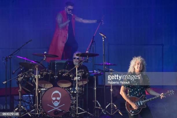 Adam Lambert and musicians Roger Taylor and Brian May of Queen perform on stage during TRNSMT Festival Day 4 at Glasgow Green on July 6 2018 in...