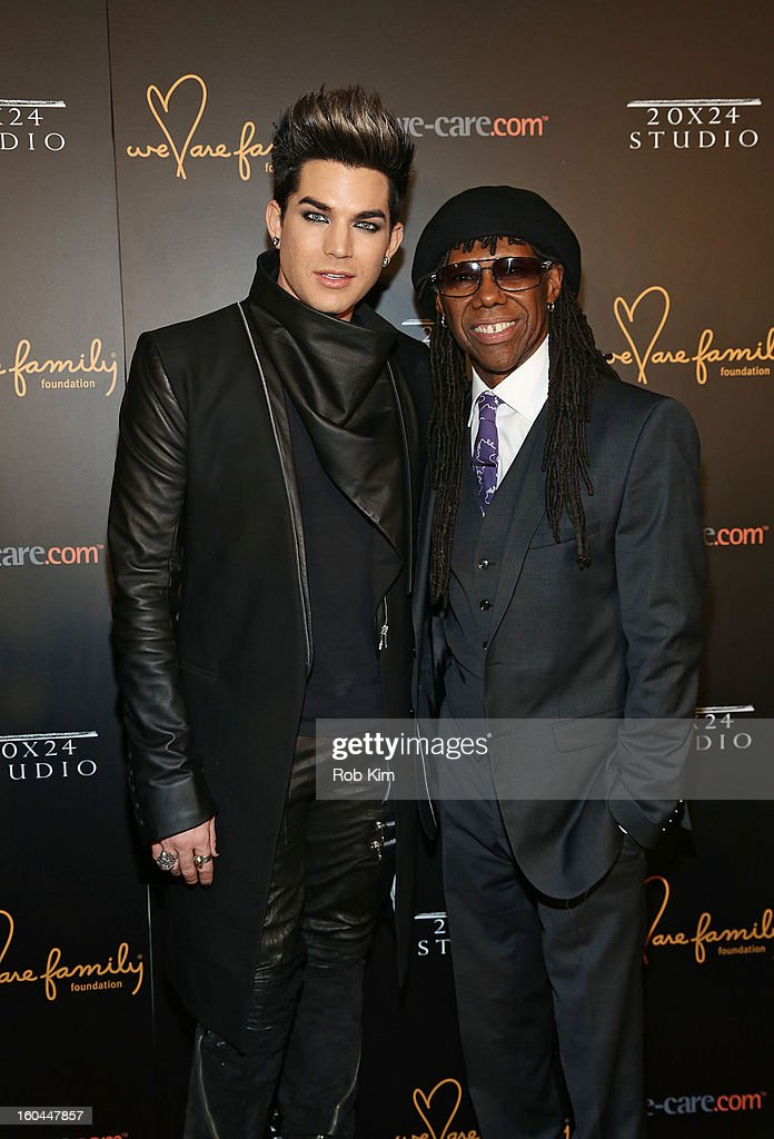 Adam Lambert (L) and Nile Rodgers attend 2013 We Are Family Foundation Gala at Hammerstein Ballroom on January 31, 2013 in New York City.