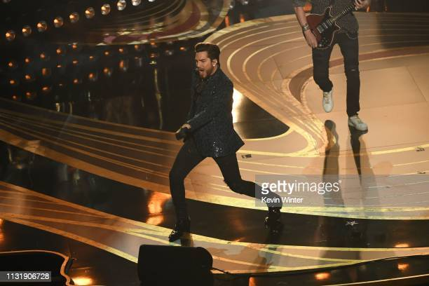 Adam Lambert and Queen onstage during the 91st Annual Academy Awards at Dolby Theatre on February 24 2019 in Hollywood California