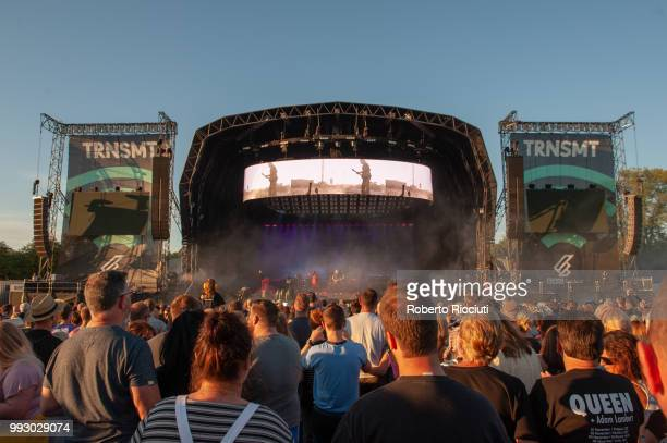 Adam Lambert and Queen perform on stage during TRNSMT Festival Day 4 at Glasgow Green on July 6 2018 in Glasgow Scotland