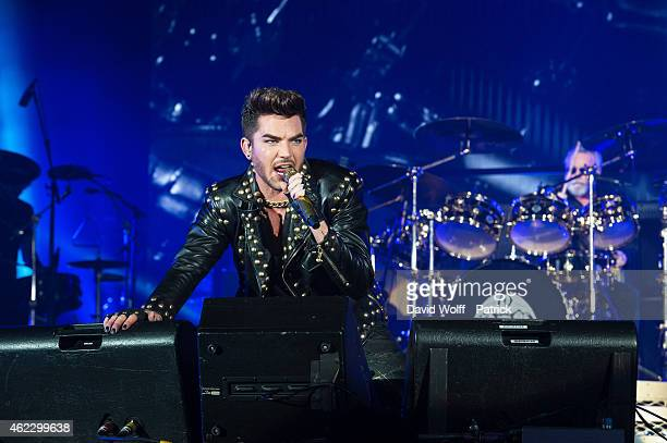 Adam Lambert and Roger Taylor from Queen perform on January 26 2015 in Paris France