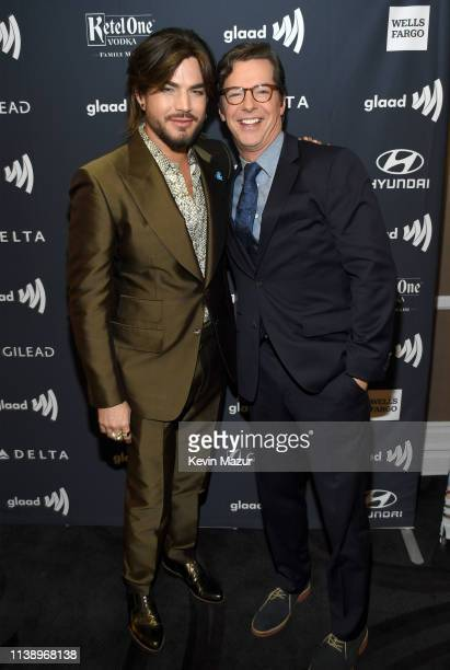 Adam Lambert and Sean Hayes attend the 30th Annual GLAAD Media Awards Los Angeles at The Beverly Hilton Hotel on March 28 2019 in Beverly Hills...