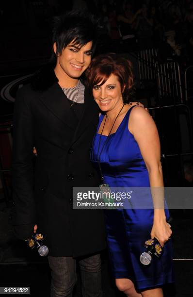 *EXCLUSIVE* Adam Lambert and Z100 DJ Danielle Monaro attend Z100's Jingle Ball 2009 presented by HM at Madison Square Garden on December 11 2009 in...