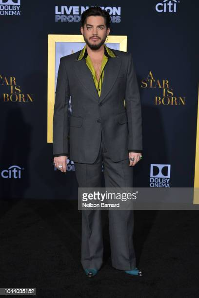 Adam Lambert arrives at the Premiere Of Warner Bros Pictures' 'A Star Is Born' at The Shrine Auditorium on September 24 2018 in Los Angeles California