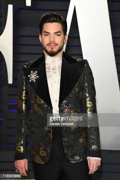 Adam Lambert attends 2019 Vanity Fair Oscar Party Hosted By Radhika Jones at Wallis Annenberg Center for the Performing Arts on February 24 2019 in...