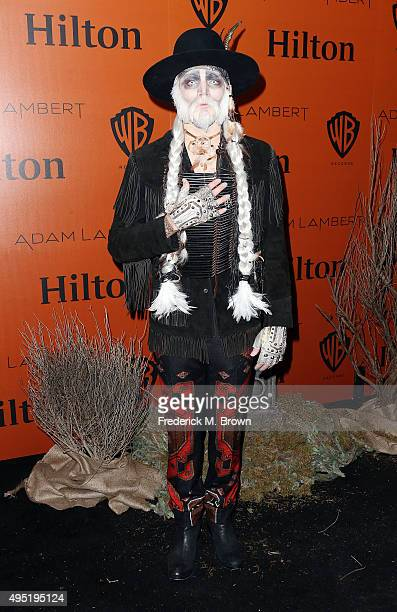 Adam Lambert attends Hilton@PLAY hosts Adam Lambert's Ghost Town Halloween Party at The Beverly Hilton Hotel on October 31 2015 in Beverly Hills...