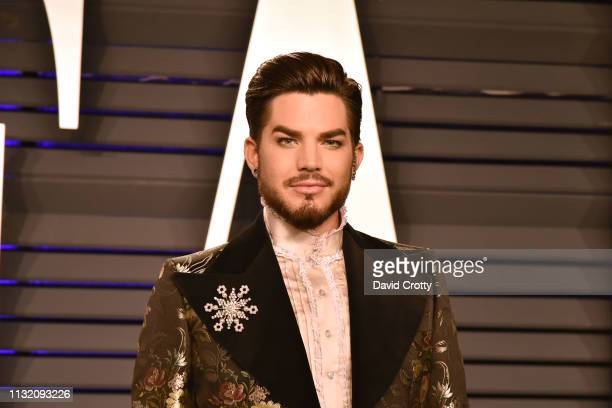 Adam Lambert attends the 2019 Vanity Fair Oscar Party at Wallis Annenberg Center for the Performing Arts on February 24 2019 in Beverly Hills...