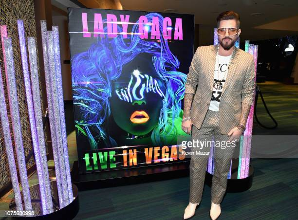 Adam Lambert attends the Lady Gaga 'ENIGMA' residency at Park Theater at Park MGM on December 28 2018 in Las Vegas Nevada