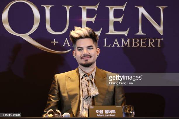 Adam Lambert attends the press conference ahead of the Rhapsody Tour at Conrad Hotel on January 16, 2020 in Seoul, South Korea. The band Queen is in...