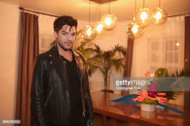 Adam Lambert attends the Wolk Morais Collection 6 Fashion Show at The Hollywood Roosevelt Hotel on January 17 2018 in Los Angeles California