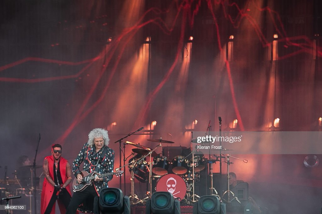 Adam Lambert, Brian May and Roger Taylor; of Queen perform at Marlay Park on July 8, 2018 in Dublin, Ireland.