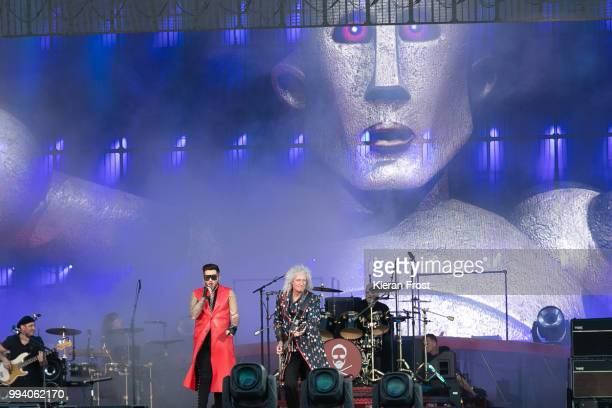 Adam Lambert Brian May and Roger Taylor of Queen perform at Marlay Park on July 8 2018 in Dublin Ireland