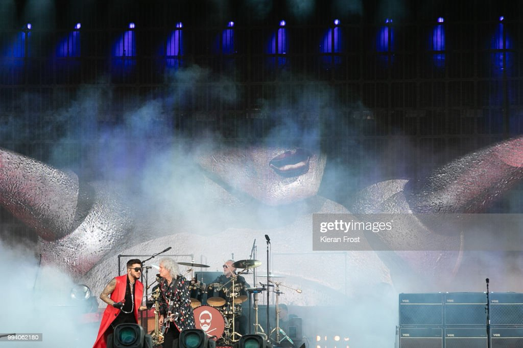 Adam Lambert, Brian May and Roger Taylor of Queen perform at Marlay Park on July 8, 2018 in Dublin, Ireland.