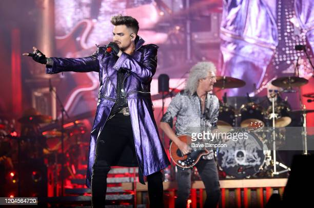 Adam Lambert Brian May and Roger Taylor perform at Mt Smart Stadium on February 07 2020 in Auckland New Zealand