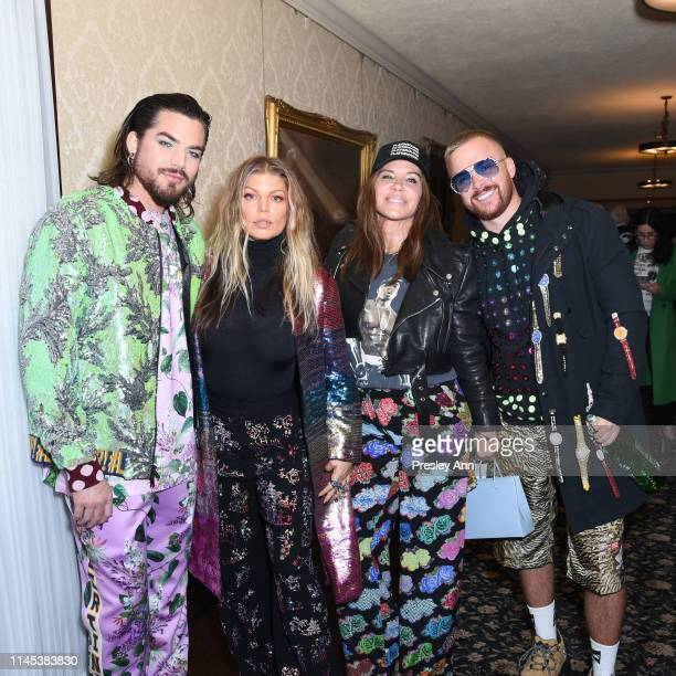 Adam Lambert, Fergie, Robin Antin and Brett Alan Nelson attend the Libertine Fall 2019 Runway Show at Ebell of Los Angeles on April 26, 2019 in Los...