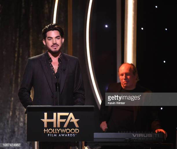Adam Lambert introduces Hans Zimmer onstage during the 22nd Annual Hollywood Film Awards at The Beverly Hilton Hotel on November 4 2018 in Beverly...