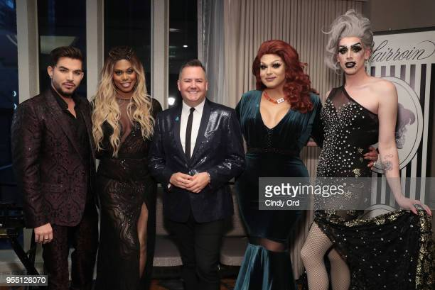 Adam Lambert Laverne Cox Ross Mathews Alexis Michelle and Dusty Ray Bottoms attend the 29th Annual GLAAD Media Awards at The Hilton Midtown on May 5...
