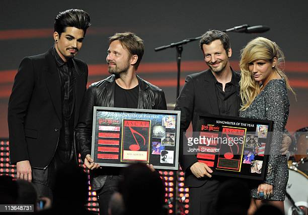 Adam Lambert Max Martin Lukasz 'Dr Luke' Gottwald and Ke$ha on stage at the 28th Annual ASCAP Pop Music Awards at the Grand Ballroom at Hollywood...