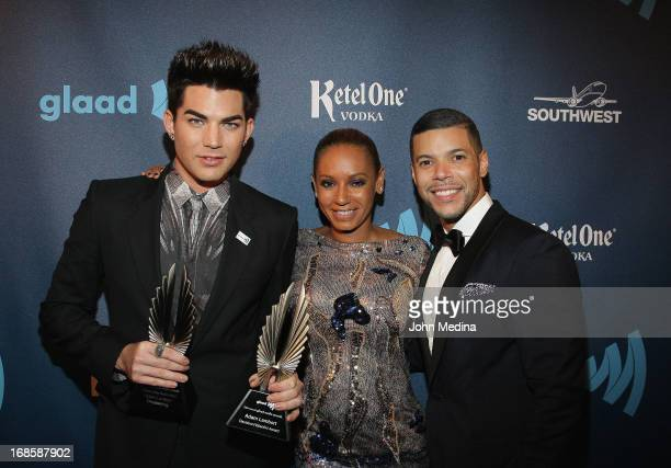 Adam Lambert Mel B aka Melanie Brown and Wilson Cruz pose for a photo during the 24th Annual GLAAD Media Awards at the Hilton San Francisco Union...