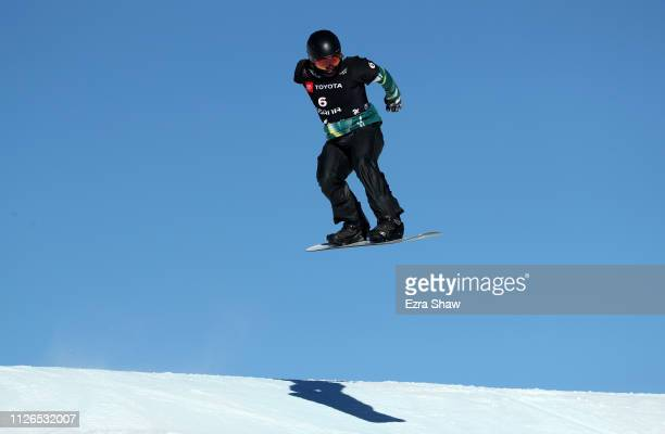 Adam Lambert of Australia competes in the Men's Snowboard Cross Qualifiers of the FIS Snowboard World Championships at Solitude Resort on January 31...