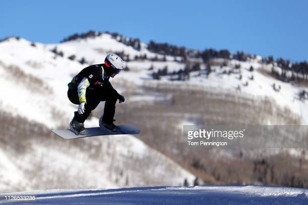 Adam Lambert of Australia competes in the Men's Snowboard Cross Qualifying of the FIS Snowboard World Championships at Solitude Resort on January 31...
