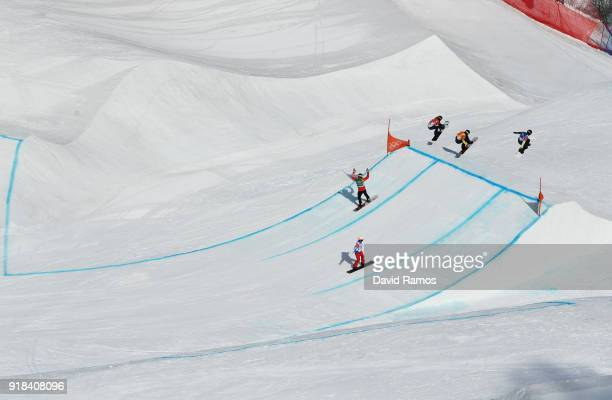 Adam Lambert of Australia leads the pack during the Men's Snowboard Cross 1/8 Final on day six of the PyeongChang 2018 Winter Olympic Games at...