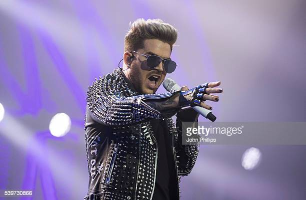 Adam Lambert of Queen + Adam Lambert performs on stage at the Isle Of Wight Festival 2016 at Seaclose Park on June 12, 2016 in Newport, Isle of Wight.