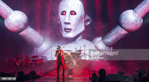 Adam Lambert of Queen and Adam Lambert perform live on stage at The O2 Arena on July 2 2018 in London England