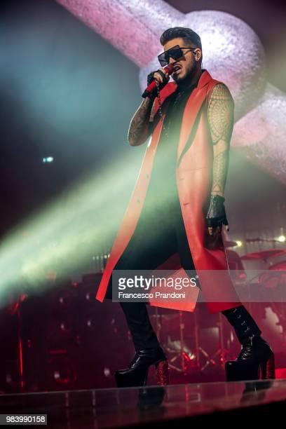Adam Lambert of Queen performs on stage at Mediolanum Forum on June 25 2018 in Milan Italy