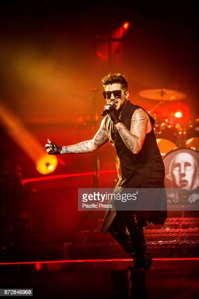 Adam Lambert of the English rock band Queen pictured on stage as they perform live at Unipol Arena in Bologna Italy