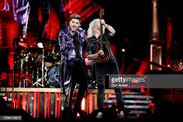 Adam Lambert performs alongside Brian May of Queen at ANZ Stadium on February 15 2020 in Sydney Australia