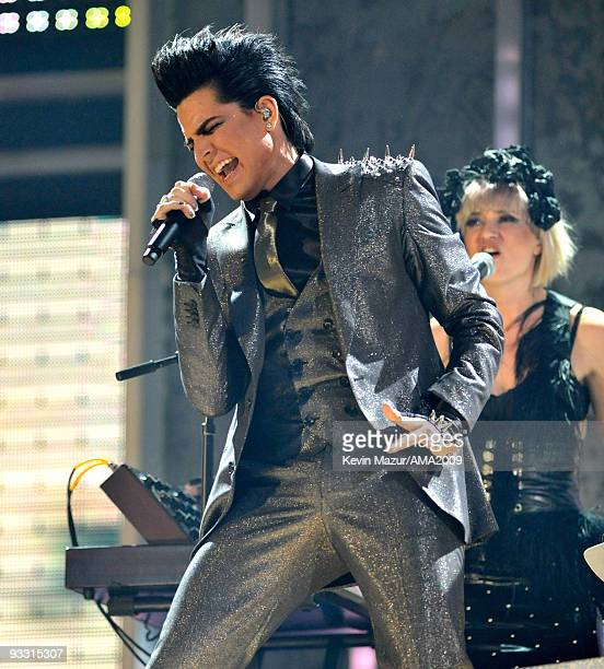 Adam Lambert performs at the 2009 American Music Awards at Nokia Theatre LA Live on November 22 2009 in Los Angeles California