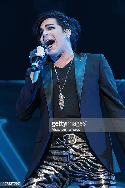 Adam Lambert performs during the Y100 Jingle Ball at BankAtlantic Center on December 11 2010 in Sunrise Florida